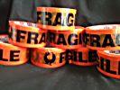 FRAGILE Tape  48mm x 66m  Flouro Orange and Black