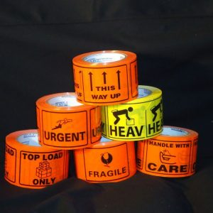 Printed Message Labels. FRAGILE 75mm x 100mm  (500 per roll)